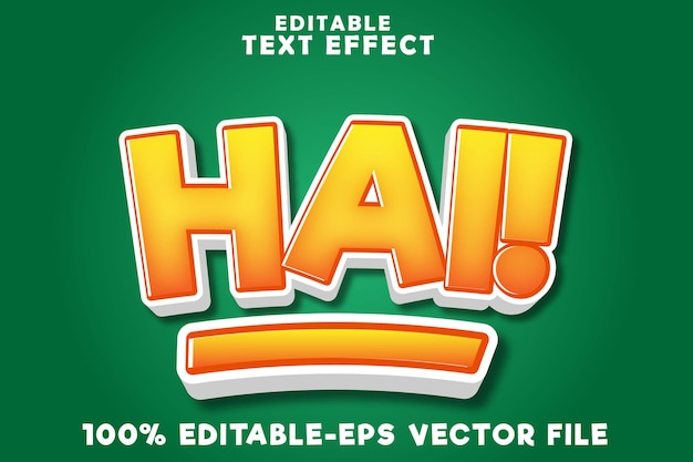 Editable text effect hi with simple comic style