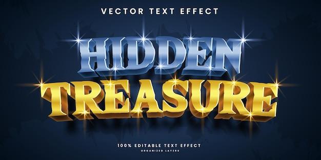 Editable text effect in hidden treasure style premium vector