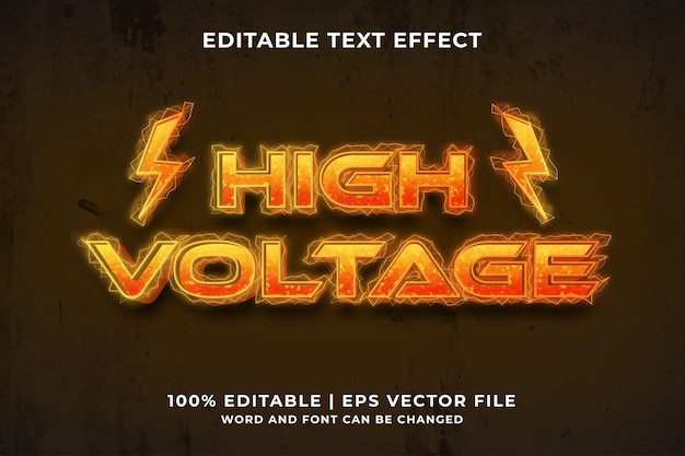 Editable text effect - high voltage template style premium vector