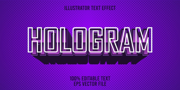 Редактируемый текстовый эффект голограмма премиум стиль