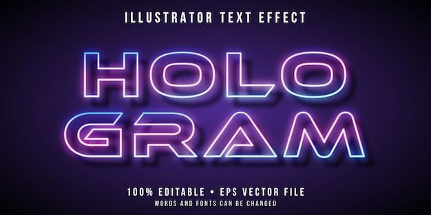 Редактируемый текстовый эффект - стиль голограммы