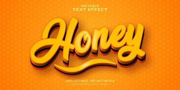 Editable text effect honey text
