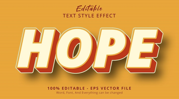 Editable text effect, hope text on retro color combination style effect