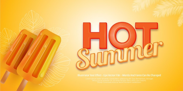 Editable text effect hot summer 3d style illustrations