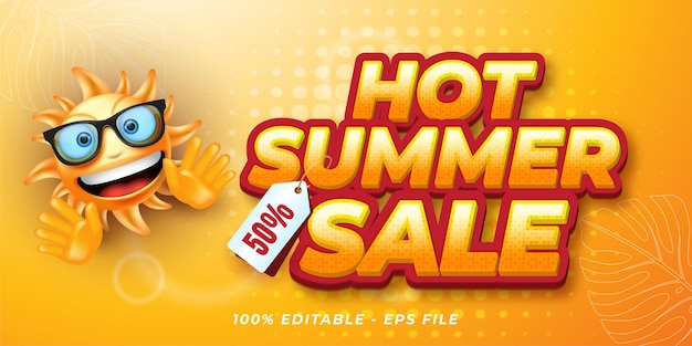 Editable text effect hot summer sale banner style illustrations