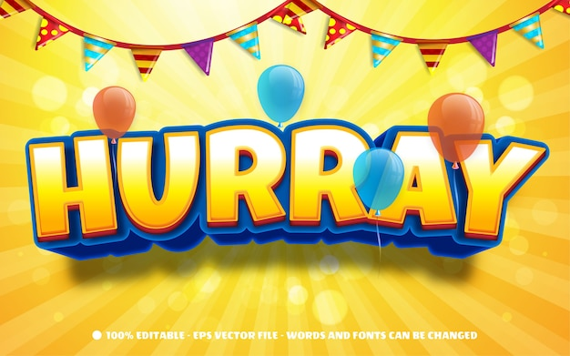 Editable text effect hurray party style illustrations