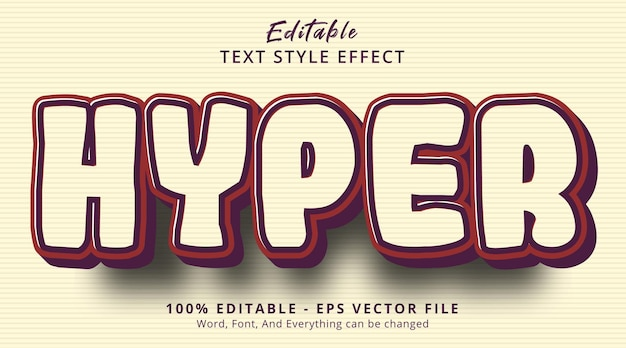 Editable text effect, hyper text on vintage color style effect template