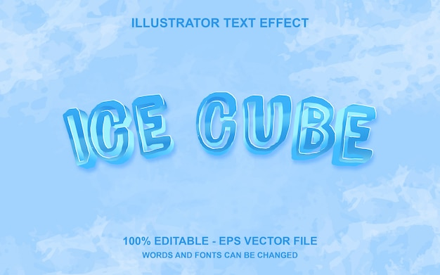 Editable text effect ice cube