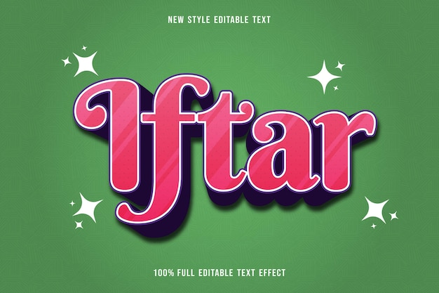 Editable text effect iftar party color white and purple