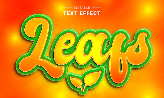 Editable text effect for illustrator leafs text style