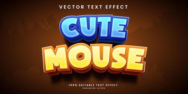 Редактируемый текстовый эффект в стиле красивой милой мыши премиум векторы