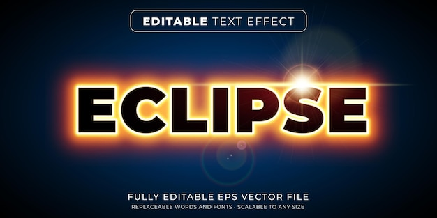 밝은 네온 이클립스 스타일의 편집 가능한 텍스트 효과