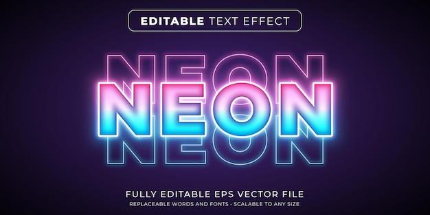 明るいネオンライトスタイルの編集可能なテキスト効果