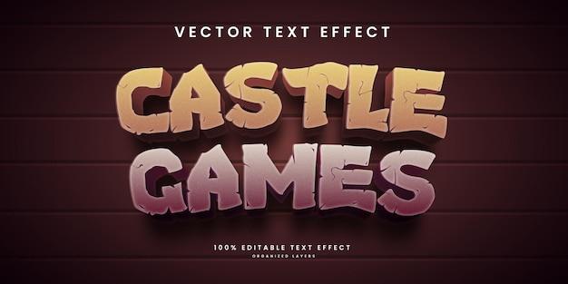 キャッスルゲームスタイルプレミアムベクトルの編集可能なテキスト効果