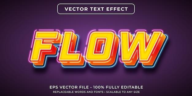 흐르는 네온 불빛 스타일의 편집 가능한 텍스트 효과