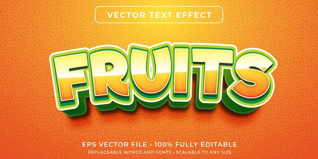 新鮮な果物のスタイルで編集可能なテキスト効果