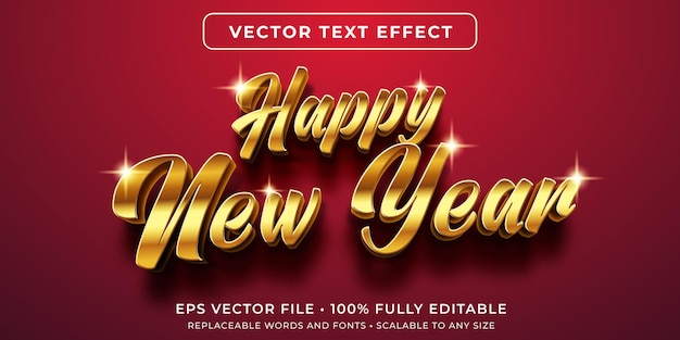 黄金の新年スタイルの編集可能なテキスト効果