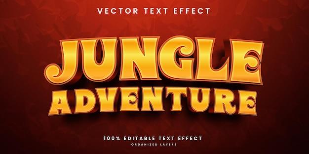 Редактируемый текстовый эффект в стиле приключений в джунглях премиум векторы
