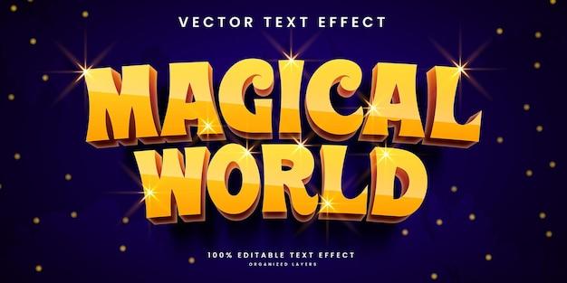 魔法の世界スタイルのプレミアムベクトルで編集可能なテキスト効果