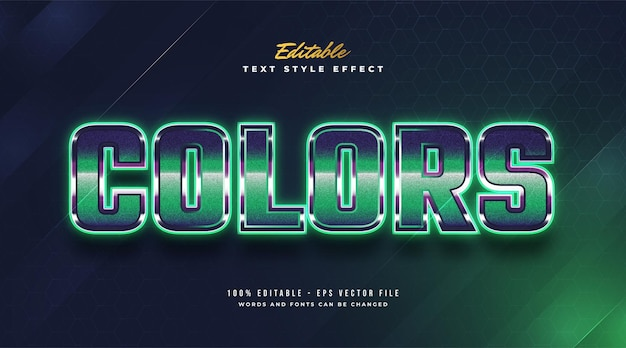Редактируемый текстовый эффект в ретро-стиле и эффект светящегося зеленого неона