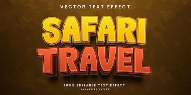 Редактируемый текстовый эффект в стиле сафари-путешествия