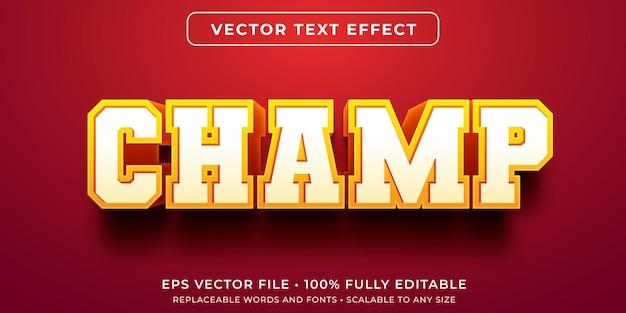 Редактируемый текстовый эффект в стиле чемпиона университета