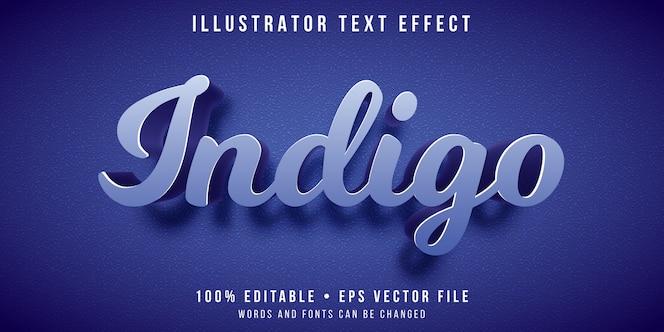 Editable text effect - indigo color style