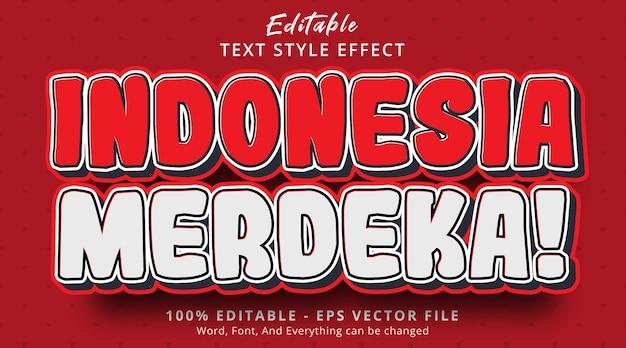 Редактируемый текстовый эффект, день независимости индонезии на текстовом эффекте в стиле комиксов