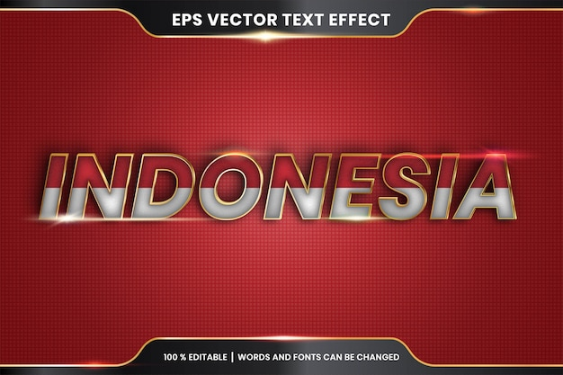 Editable text effect - indonesia with its national country flag
