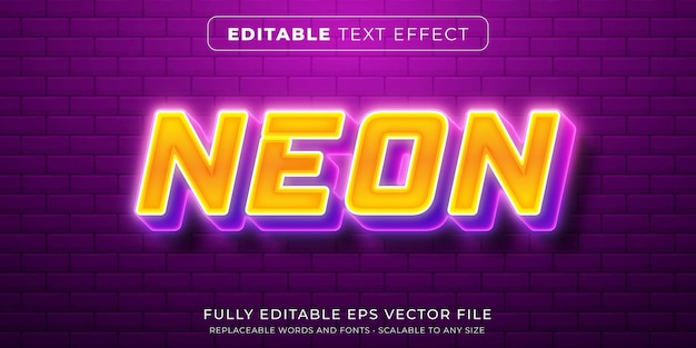 Editable text effect in intense neon light style