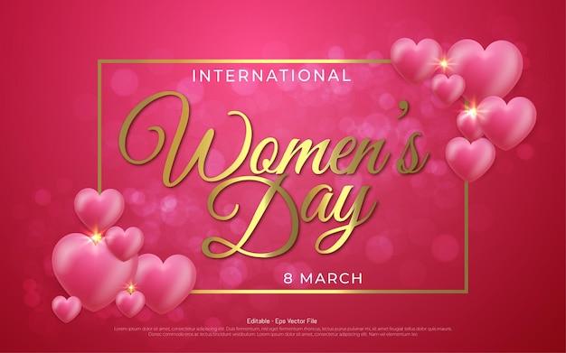 Редактируемый текстовый эффект, международный женский день 8 марта