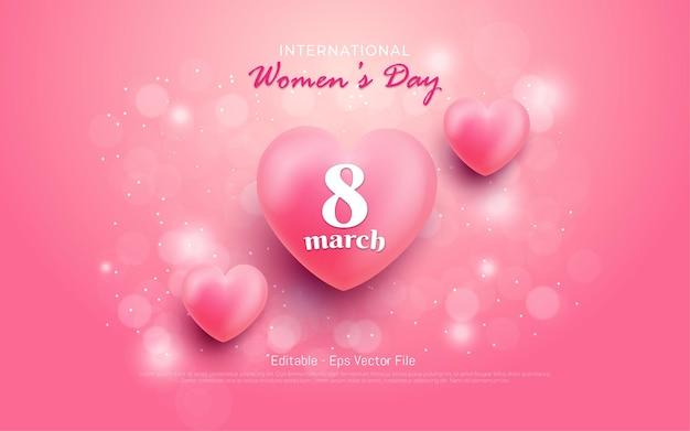 Editable text effect, international women's day 8 march