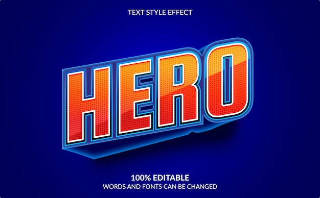 Editable text effect isolated on blue