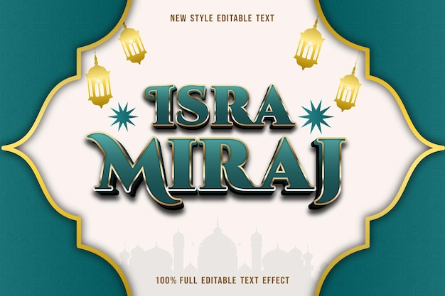 Editable text effect isra miraj color green and gold