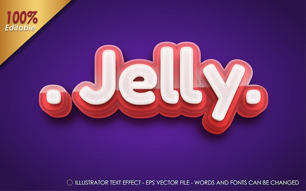 Editable text effect, jelly style illustrations