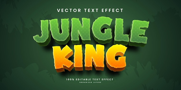 Editable text effect in jungle king style premium vector