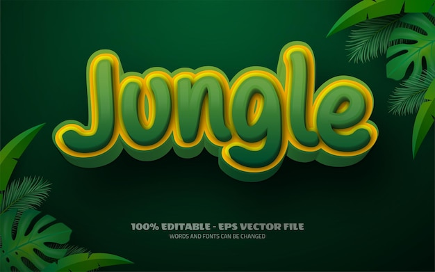 Editable text effect, jungle style illustrations