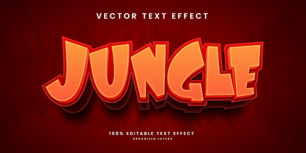 Editable text effect in jungle style premium vector