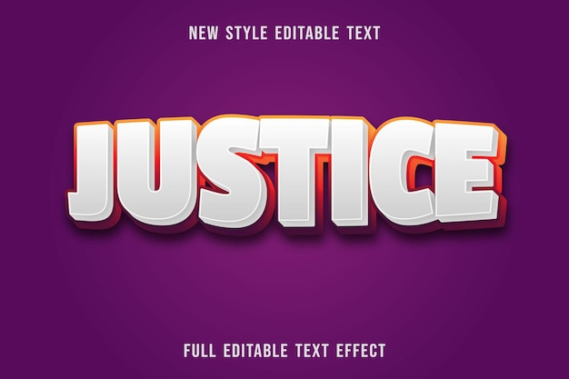 Editable text effect justice color white and orange purple