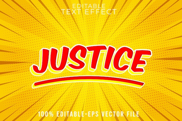 Editable text effect justice with super comic style