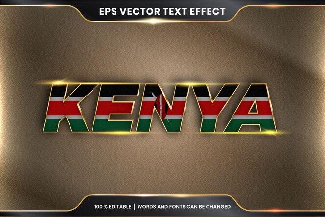 Effetto di testo modificabile - kenya con la sua bandiera nazionale