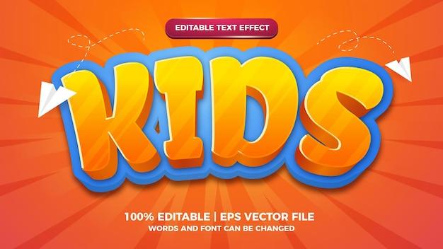 Editable text effect kids 3d cartoon style template