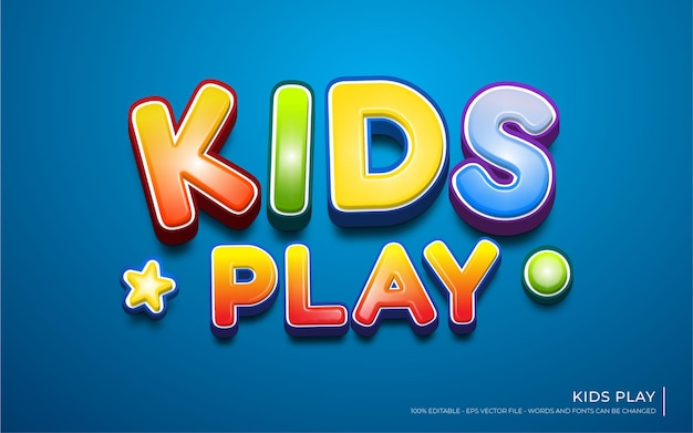 Editable text effect, kids play  style