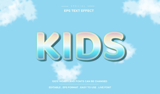 Editable text effect kids style