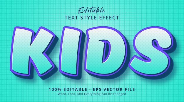 Editable text effect, kids text on headline comic style effect
