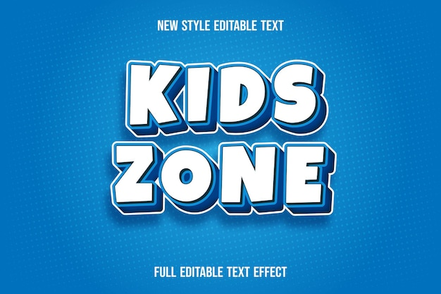 Editable text effect kids zone color white and blue