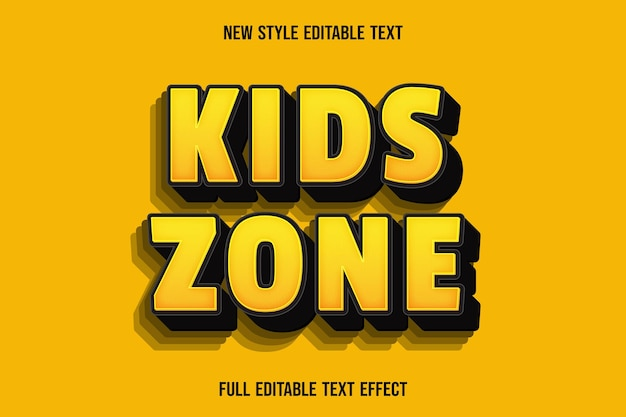 Editable text effect kids zone color yellow and black