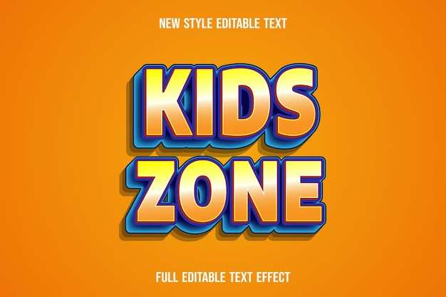 Editable text effect kids zone color yellow orange and purple