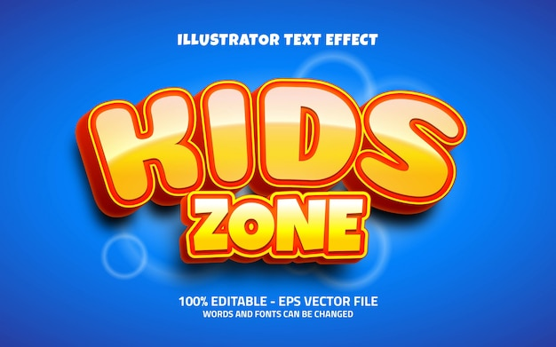 Editable text effect, kids zone style illustrations
