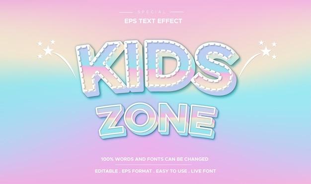Editable text effect  kids zone style Premium Vector